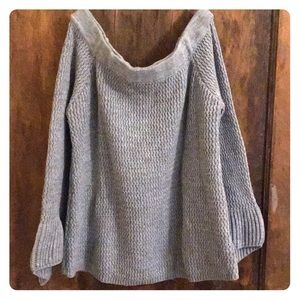 Gray Off The Shoulder Knit Sweater